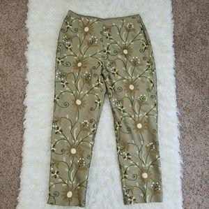 Sz 12 Pants Silk Floral Embroidery Tan Karen Kane